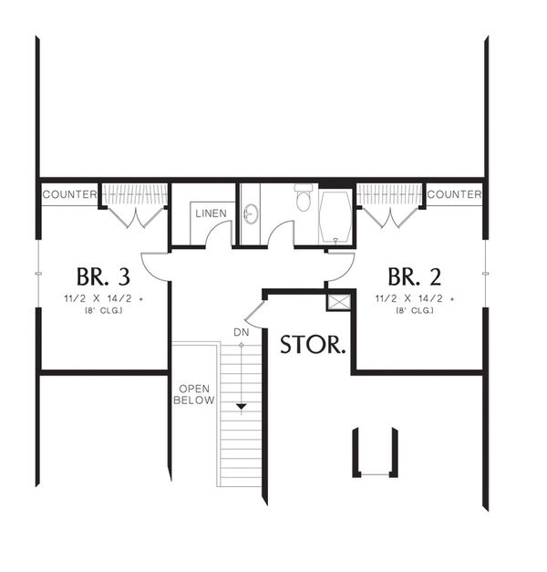 Craftsman Floor Plan - Upper Floor Plan Plan #48-524