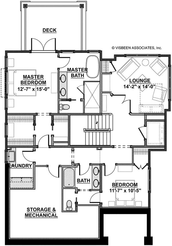 Craftsman Floor Plan - Lower Floor Plan Plan #928-268