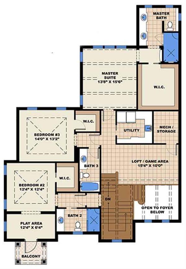 Country Floor Plan - Upper Floor Plan Plan #1017-168