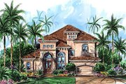 European Style House Plan - 4 Beds 3.5 Baths 3430 Sq/Ft Plan #27-264 Exterior - Front Elevation