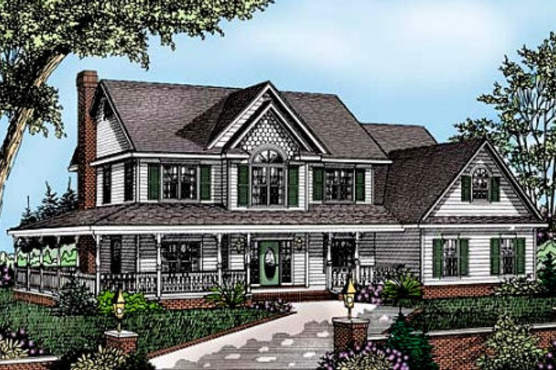 Farmhouse Style House Plan - 4 Beds 2.5 Baths 2198 Sq/Ft Plan #11-214 Exterior - Front Elevation