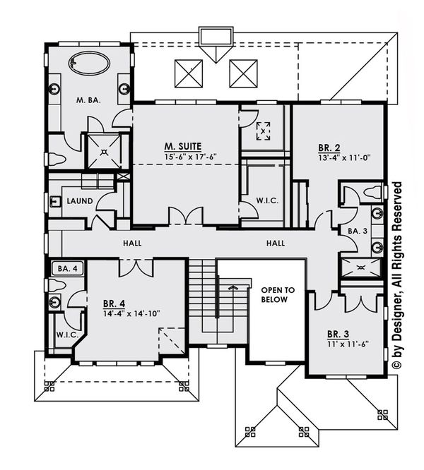 Modern Floor Plan - Upper Floor Plan Plan #1066-13