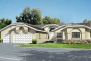 Adobe / Southwestern Style House Plan - 4 Beds 2.5 Baths 2672 Sq/Ft Plan #1-646 Exterior - Front Elevation