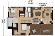 Contemporary Style House Plan - 2 Beds 1 Baths 1016 Sq/Ft Plan #25-4573 Floor Plan - Main Floor Plan