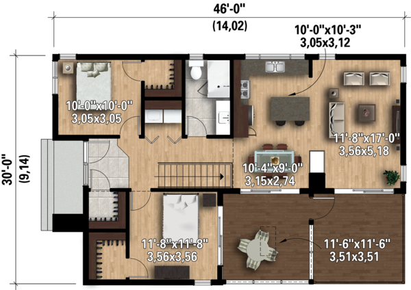 Contemporary Floor Plan - Main Floor Plan Plan #25-4573