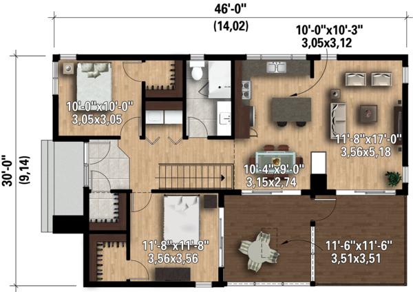 Contemporary Floor Plan - Main Floor Plan Plan #25-4573
