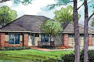 Ranch Exterior - Front Elevation Plan #124-826