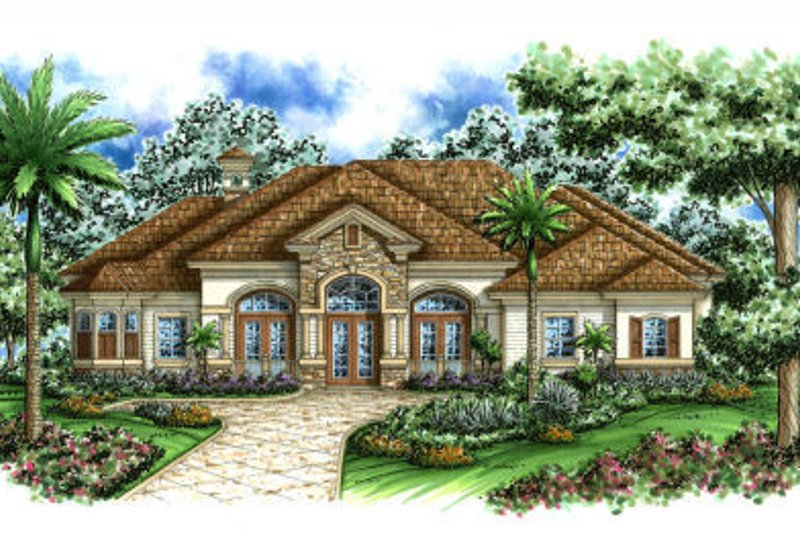 Mediterranean Style House Plan - 4 Beds 3 Baths 3742 Sq/Ft Plan #27-374 Exterior - Front Elevation