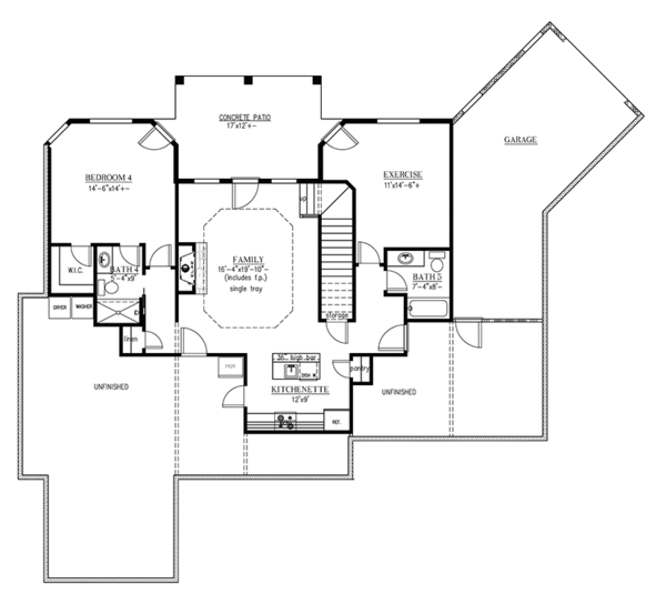 European Floor Plan - Lower Floor Plan Plan #437-70