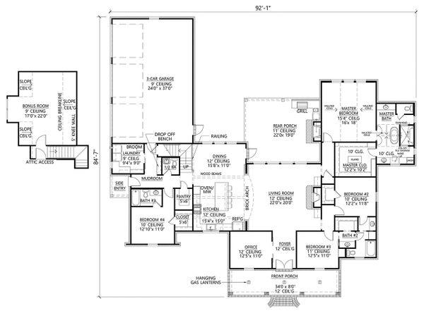 Country Floor Plan - Main Floor Plan Plan #1074-23