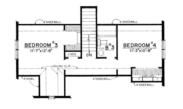 European Floor Plan - Upper Floor Plan Plan #1016-108