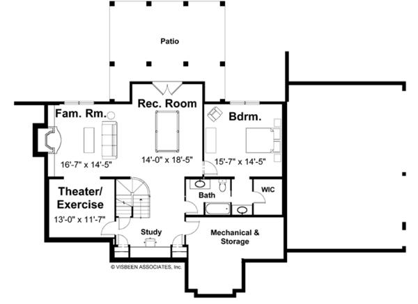 Craftsman Floor Plan - Lower Floor Plan Plan #928-113