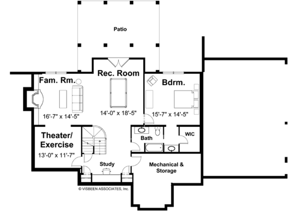 Craftsman Floor Plan - Lower Floor Plan Plan #928-113