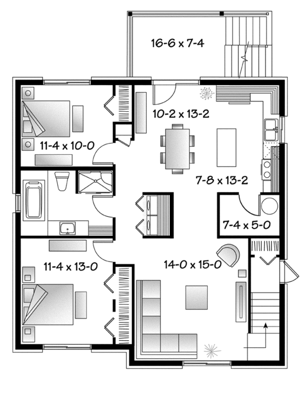 Contemporary Floor Plan - Lower Floor Plan Plan #23-2595
