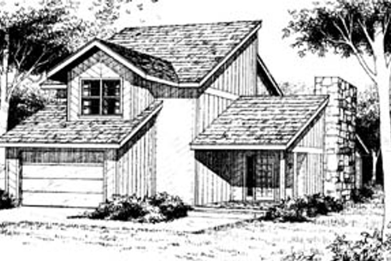 Contemporary Style House Plan - 3 Beds 2.5 Baths 1490 Sq/Ft Plan #10-224 Exterior - Front Elevation