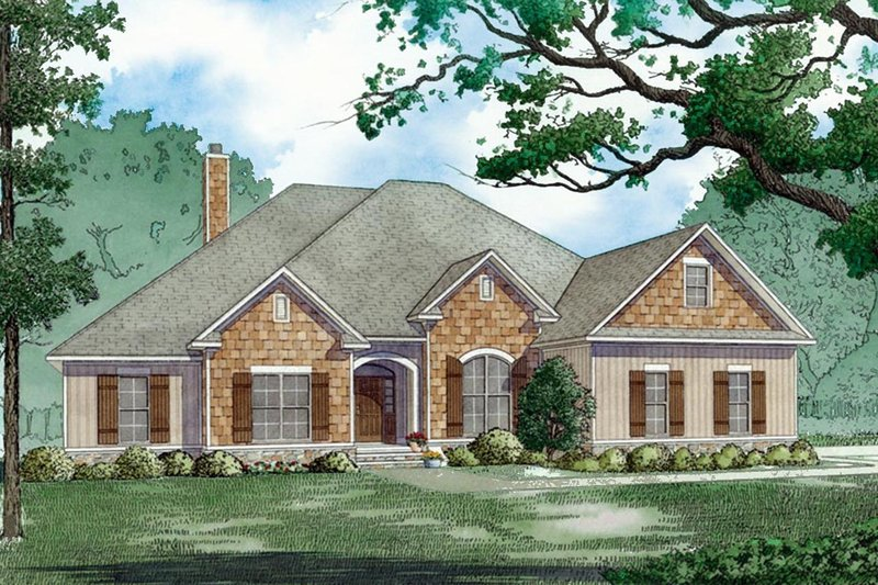 Ranch Style House Plan - 4 Beds 3 Baths 2646 Sq/Ft Plan #923-75 Exterior - Front Elevation