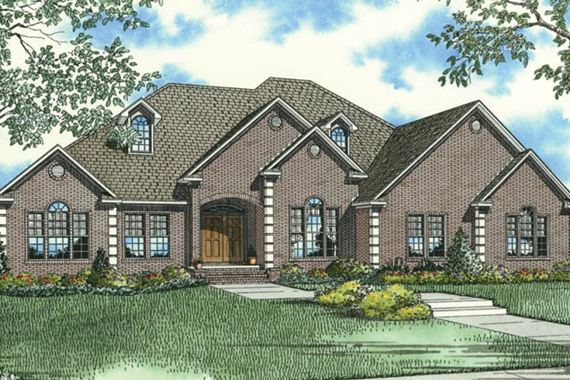 European Style House Plan - 3 Beds 2.5 Baths 3050 Sq/Ft Plan #17-2510 Exterior - Front Elevation