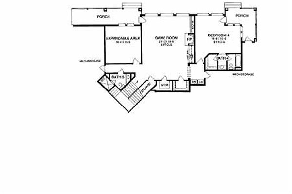 Mediterranean Floor Plan - Lower Floor Plan Plan #952-137