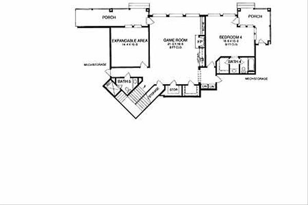 Mediterranean Floor Plan - Lower Floor Plan Plan #952-137