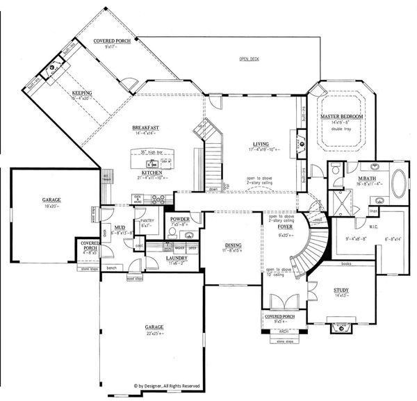 Country Style House Plan - 4 Beds 4.5 Baths 4371 Sq/Ft Plan #437-81 Floor Plan - Main Floor Plan