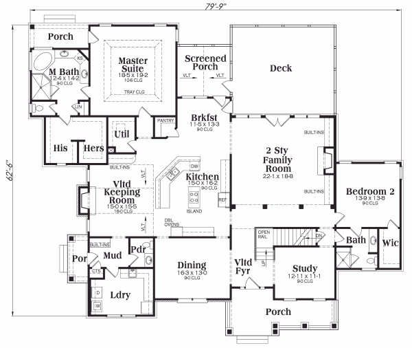 Craftsman Floor Plan - Main Floor Plan Plan #419-147