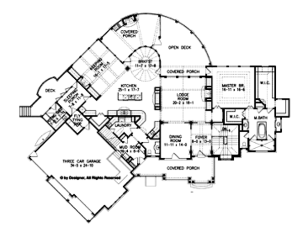 Craftsman Floor Plan - Main Floor Plan Plan #54-352