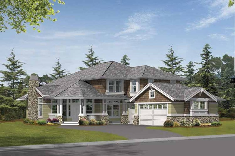 Architectural House Design - Craftsman Exterior - Front Elevation Plan #132-399