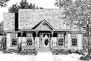 Cottage Exterior - Front Elevation Plan #14-154