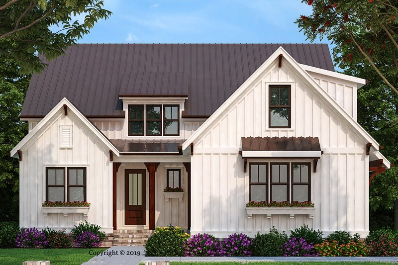 Farmhouse Style House Plan - 4 Beds 4 Baths 2311 Sq/Ft Plan #927-1002 Exterior - Front Elevation