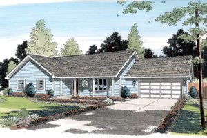 Ranch Exterior - Front Elevation Plan #312-169