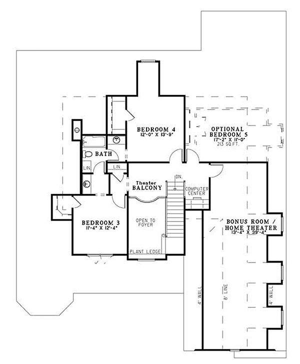 Craftsman Floor Plan - Upper Floor Plan Plan #17-2153