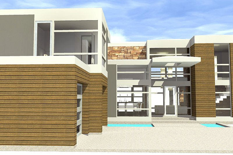 Modern Exterior - Front Elevation Plan #64-221 - Houseplans.com