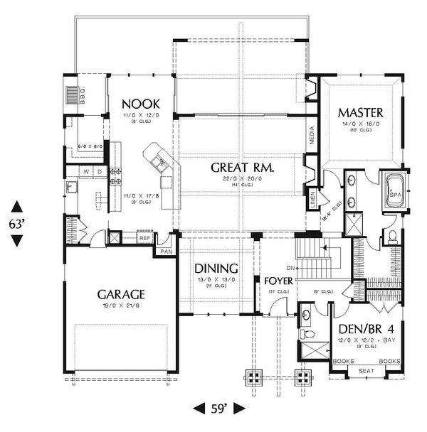 Home Plan - Craftsman Floor Plan - Main Floor Plan #48-545
