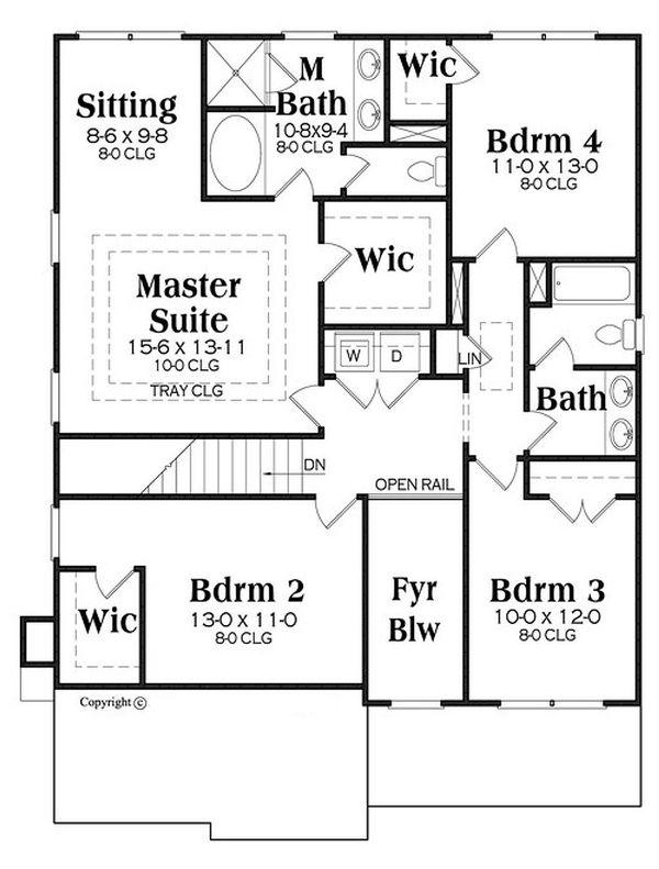 Traditional Floor Plan - Upper Floor Plan Plan #419-313
