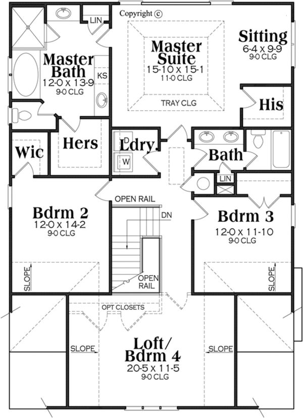 Bungalow Floor Plan - Upper Floor Plan Plan #419-275
