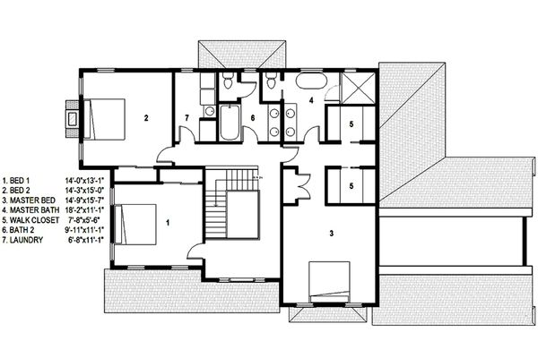 Traditional Floor Plan - Upper Floor Plan Plan #497-44