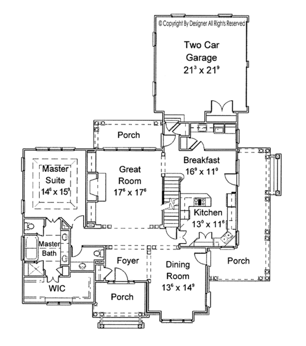 Country Floor Plan - Main Floor Plan Plan #429-258