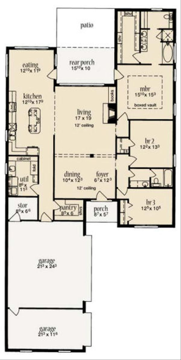 European Floor Plan - Main Floor Plan Plan #36-460