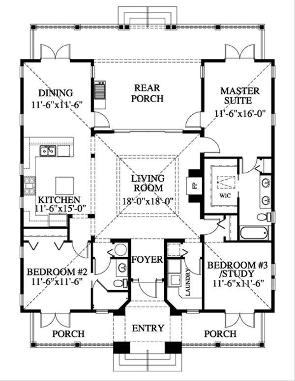 Beach Floor Plan - Main Floor Plan Plan #426-11