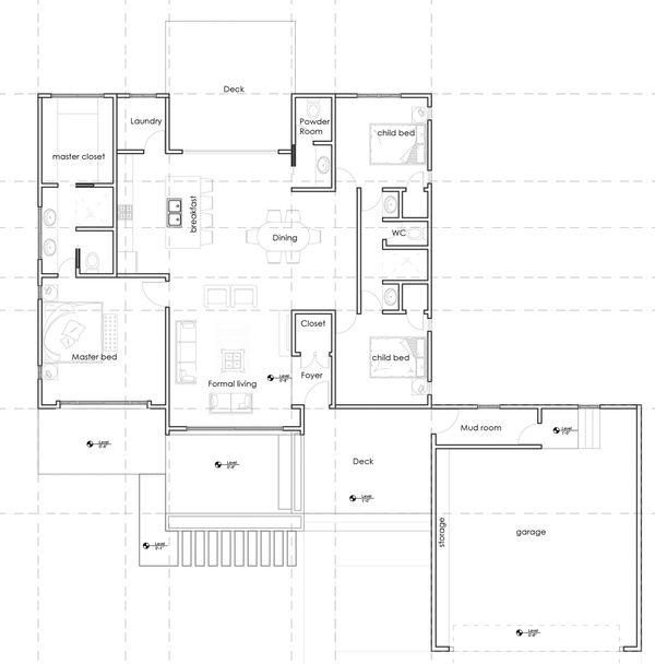 Ranch Floor Plan - Main Floor Plan Plan #1075-1