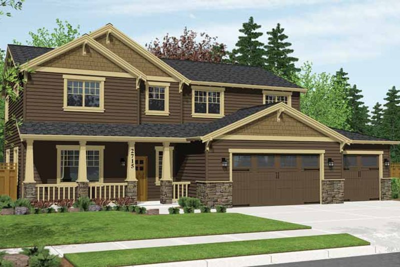 Craftsman Style House Plan - 4 Beds 2.5 Baths 2715 Sq/Ft Plan #943-28 Exterior - Front Elevation