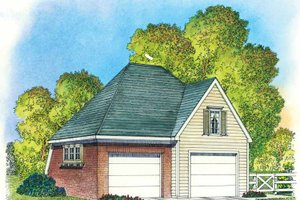 Colonial Exterior - Front Elevation Plan #1016-83
