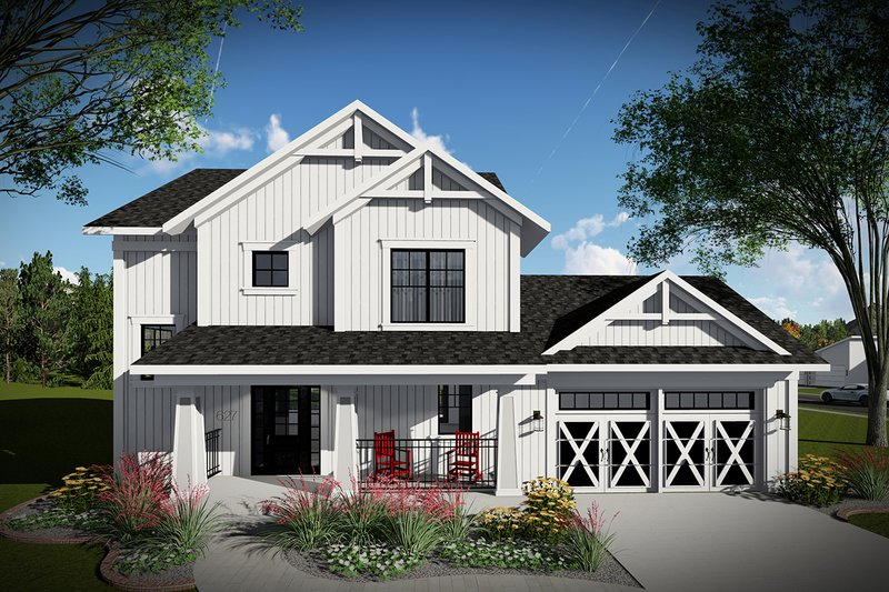 Dream House Plan - Farmhouse Exterior - Front Elevation Plan #70-1454