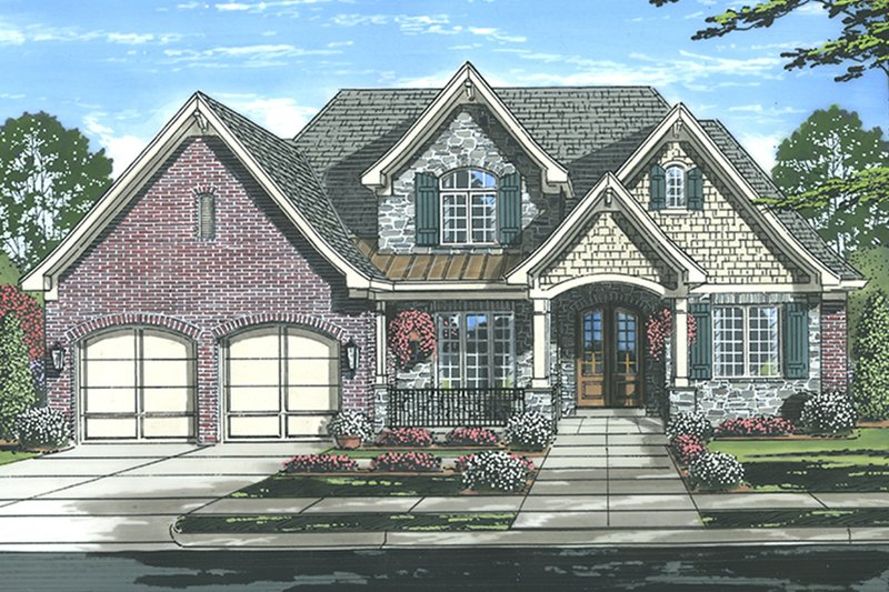 Country Exterior - Front Elevation Plan #46-856