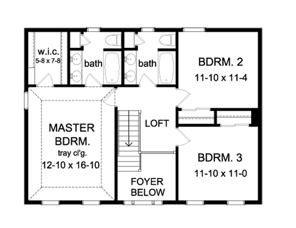 Colonial Floor Plan - Upper Floor Plan Plan #1010-71