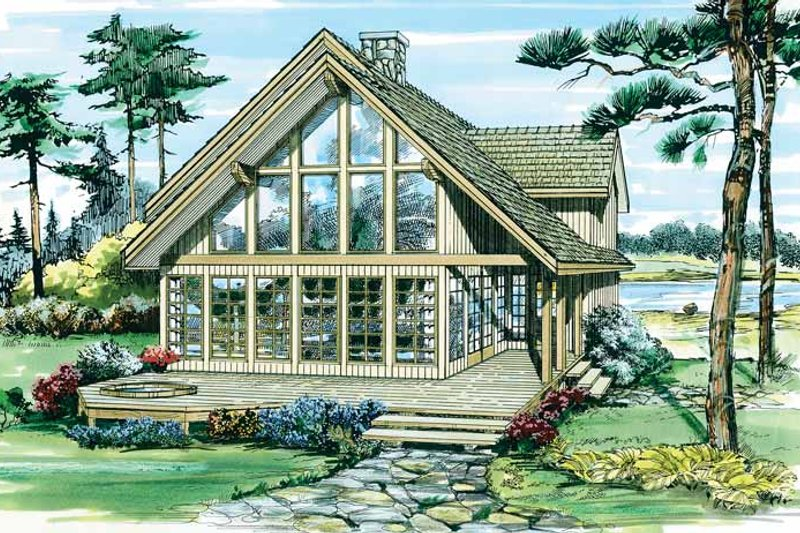 Cabin Exterior - Front Elevation Plan #47-927
