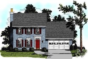 Colonial Exterior - Front Elevation Plan #56-114