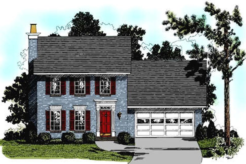 Colonial Style House Plan - 3 Beds 2.5 Baths 1349 Sq/Ft Plan #56-114 Exterior - Front Elevation