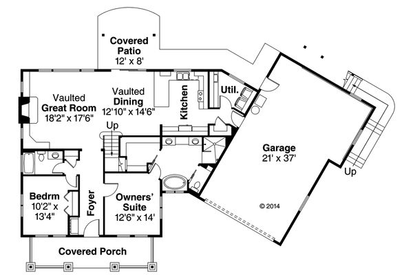 Craftsman Floor Plan - Main Floor Plan Plan #124-979
