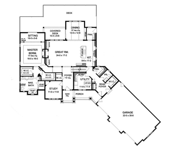 Colonial Floor Plan - Main Floor Plan Plan #1010-40